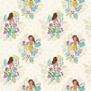 Lewis & Irene Island Girl - 5301 - Island Girl Floral on White - A191.1 - Cotton Fabric